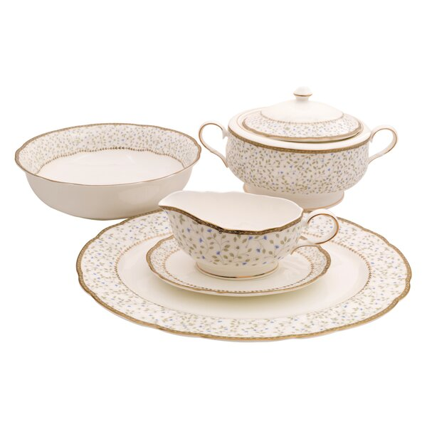 Flores Bone China Special Serving 5 Piece Dinnerware Set by Shinepukur Ceramics USA, Inc.
