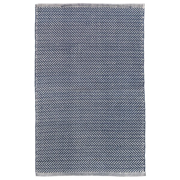 Herringbone Polypropylene Denim Blue/Ivory Indoor/Outdoor Area Rug by Dash and Albert Rugs