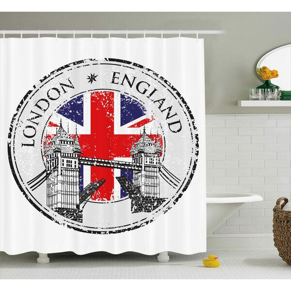 London England Grunge Stamp Shower Curtain by East Urban Home