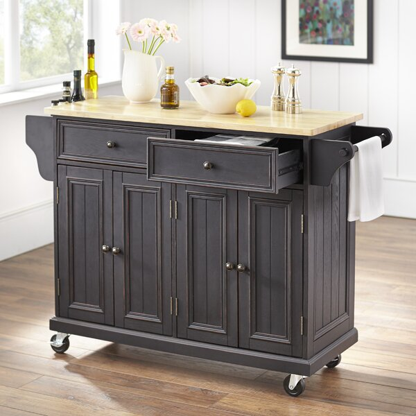 Mckinnis Kitchen Island with Solid Wood Top by Charlton Home