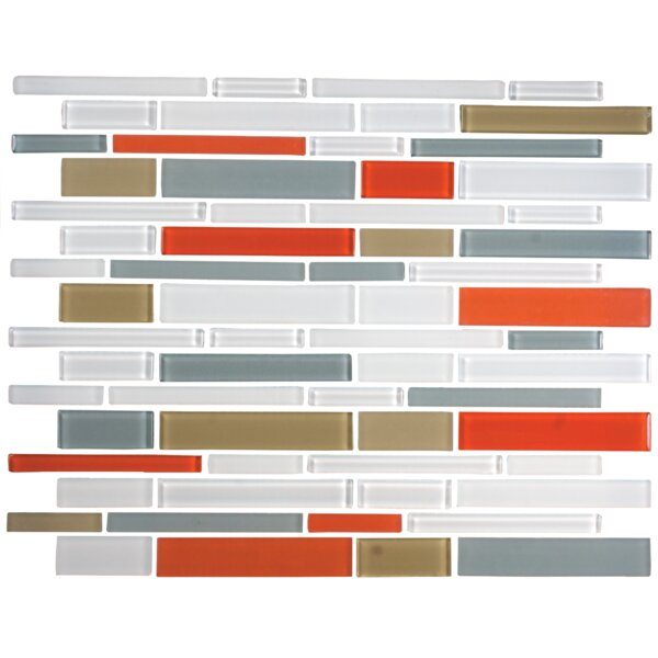 Signature Line Glass Mosaic Tile in Gray/Red/Blue by Susan Jablon