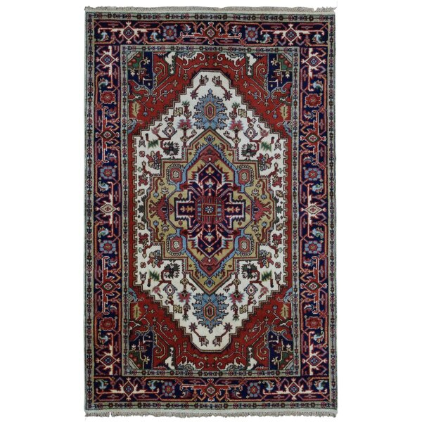 Roselle Hand Woven Wool Navy/Red Area Rug by Bloomsbury Market