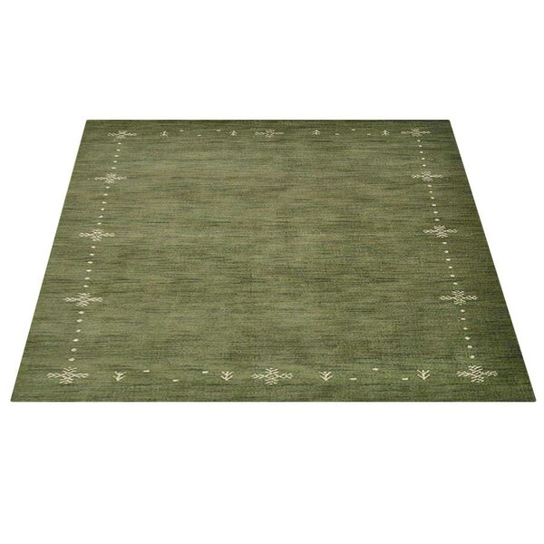Christina Loom Hand-Knotted Wool Green Area Rug by World Menagerie
