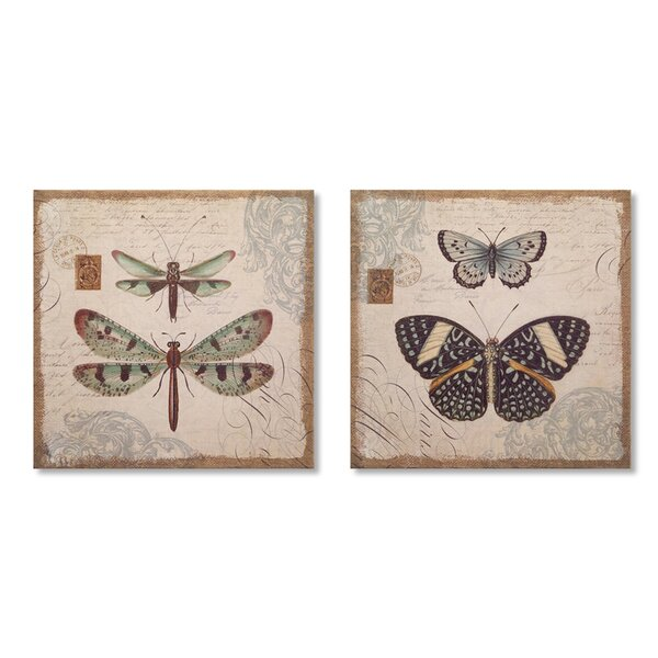 Butterfly/Dragonfly 2 Piece Graphic Art on Wood Set by Melrose International