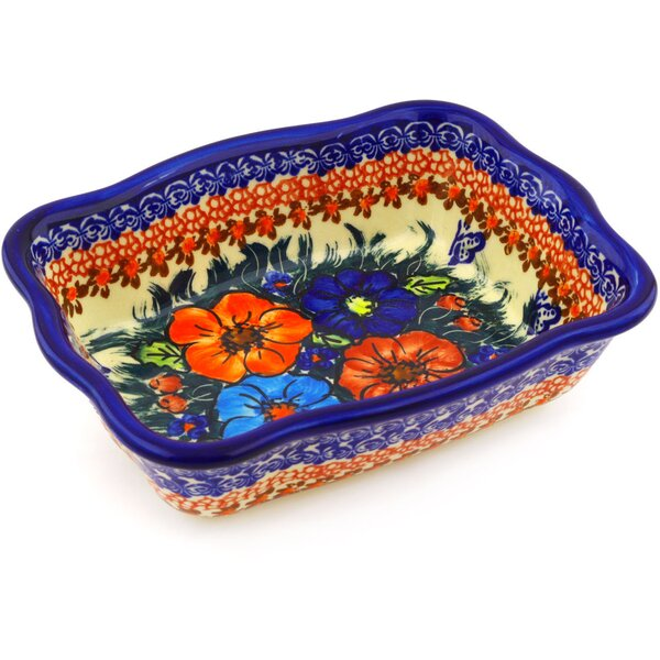 Butterfly Splendor Rectangular Non-Stick Polish Pottery Baker by Polmedia