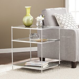 Busey 2 Shelves Glam Mirrored End Table by L..