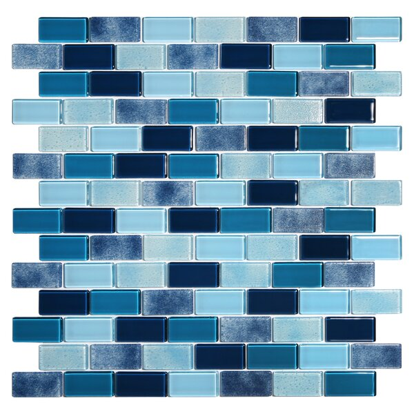 Tides 0.75 x 1.63 Glass Mosaic Tile in Ultramarine by Kellani
