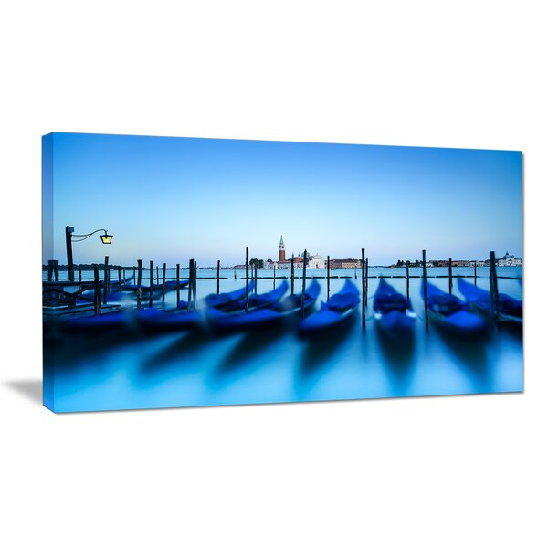 Venice Gondolas at Blue Sunset Photographic Print on Wrapped Canvas by Design Art