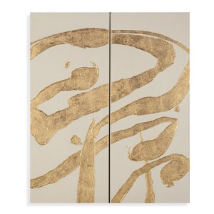 Thoroughly Modern 'Gold Splashes' Painting Prints on Canvas (Set of 2) by Bassett Mirror