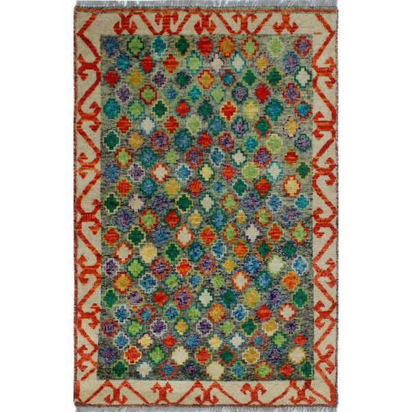 One-of-a-Kind Millender Oladele Hand-Knotted Wool Green/Beige Area Rug by Bloomsbury Market