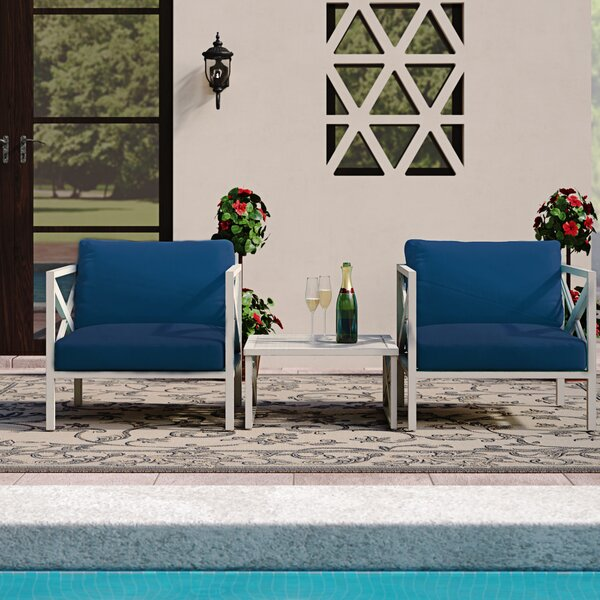 Wrenshall Outdoor 3 Piece Seating Group with Cushions by Red Barrel Studio