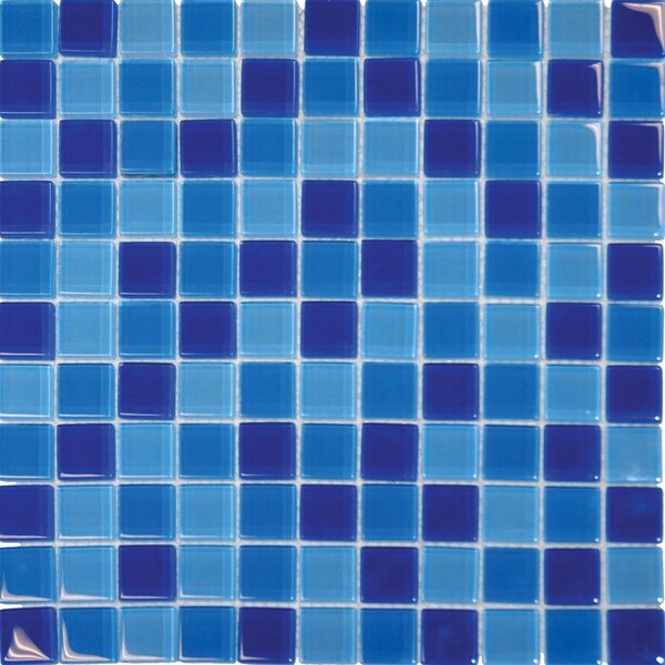 Crystallized 1 x 1 Glass Mosaic Tile in Blue by MSI