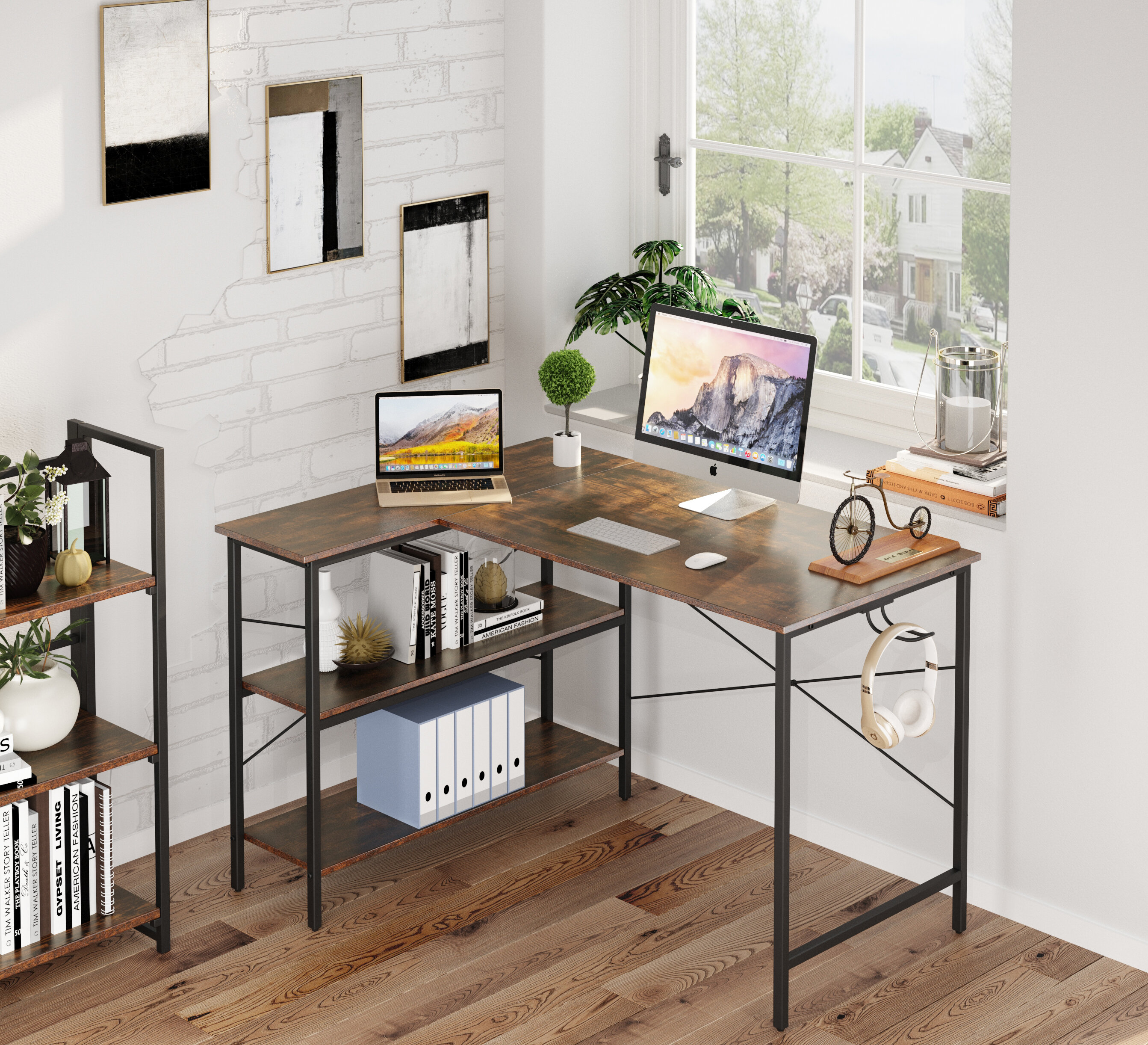 17 Stories Small L Shaped Computer Desk, 47 Inch L-Shaped Corner