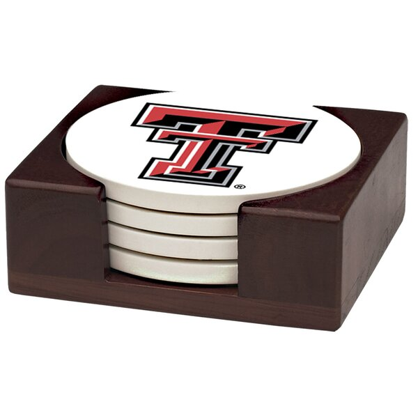 5 Piece Texas Tech University Wood Collegiate Coaster Gift Set by Thirstystone