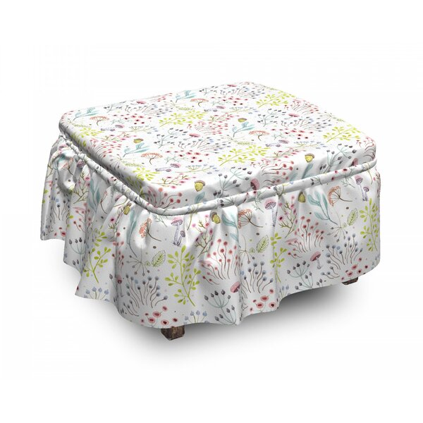 Mushrooms Ottoman Slipcover (Set Of 2) By East Urban Home