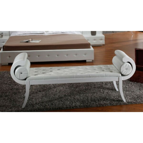 Potomac Button-Tufted Faux Leather Bench by Rosdorf Park