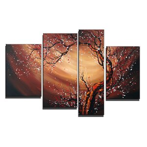 Tree Blossom Whirlwind 4 Piece Painting on Canvas Set by Design Art
