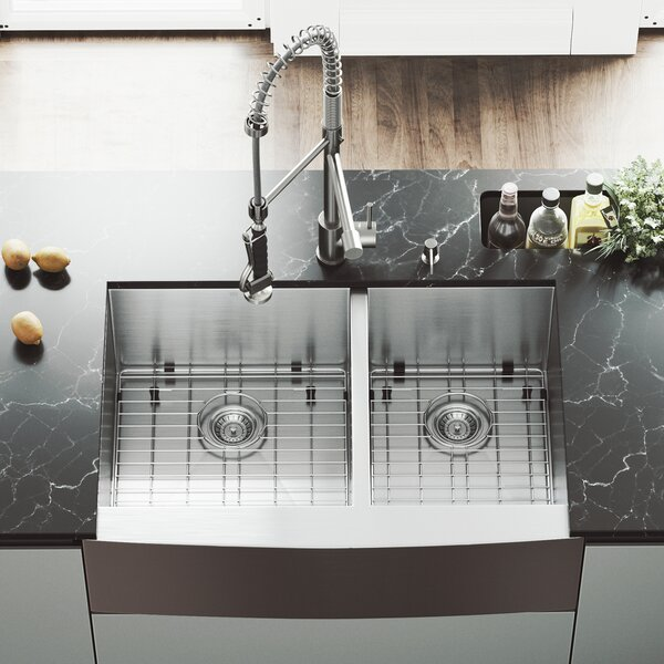 33 L x 22 W Double Basin Farmhouse itchen Sink with Faucet, Grid, Strainer and Soap Dispenser by VIGO