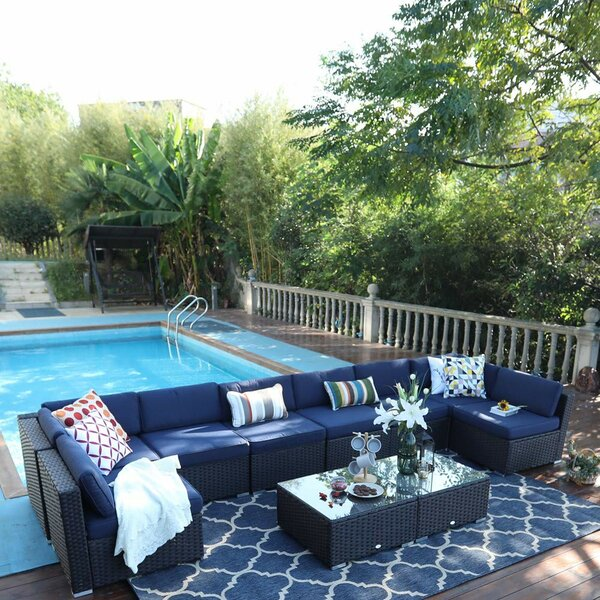 Northam Outdoor 10 Piece Rattan Sectional Seating Group with Cushions by Ivy Bronx