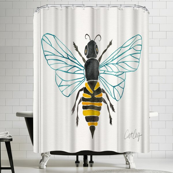 Honey Bee Shower Curtain by East Urban Home