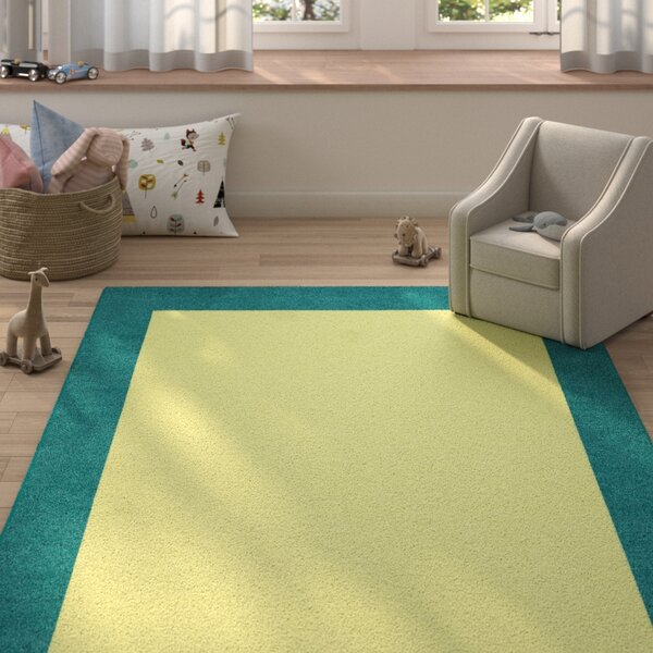 Highlands Hand-Tufted Wool Teal/Yellow Indoor Area Rug by Zoomie Kids
