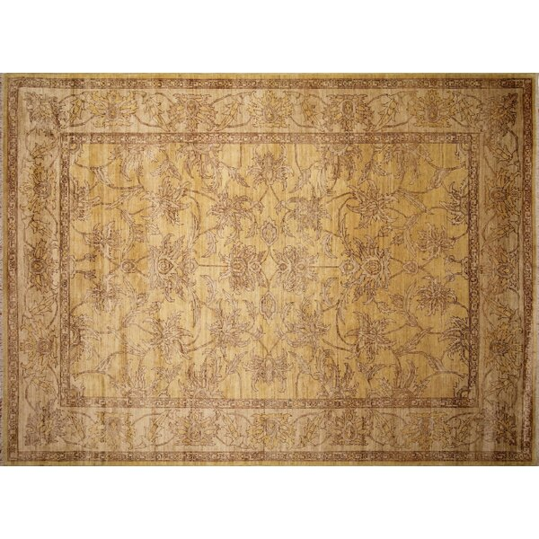 One-of-a-Kind Romona Hand-Knotted Rectangle Gold Area Rug by Isabelline