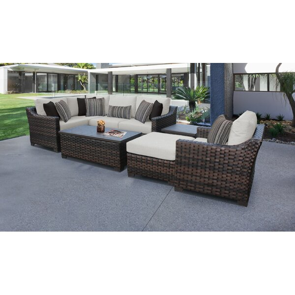 River Brook 8 Piece Outdoor Wicker Patio Furniture Set 08n by kathy ireland Homes & Gardens by TK Classics
