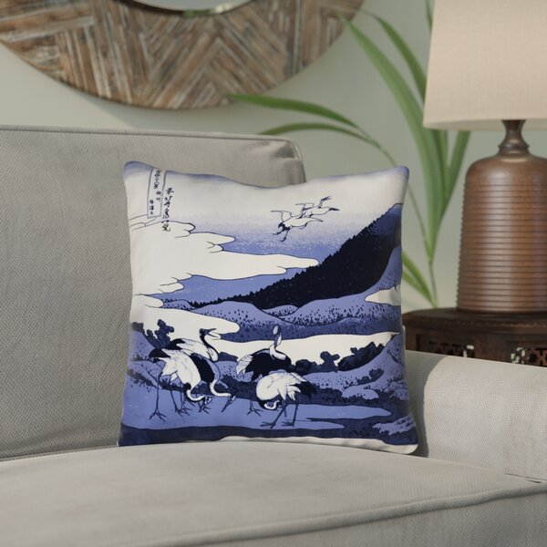 Montreal Japanese Cranes Outdoor Throw Pillow