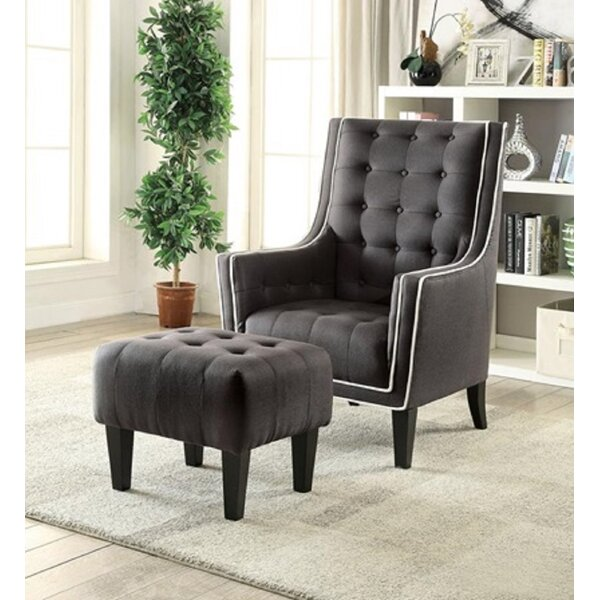 Newquist Armchair and Ottoman (Set of 2) by Canora Grey Canora Grey