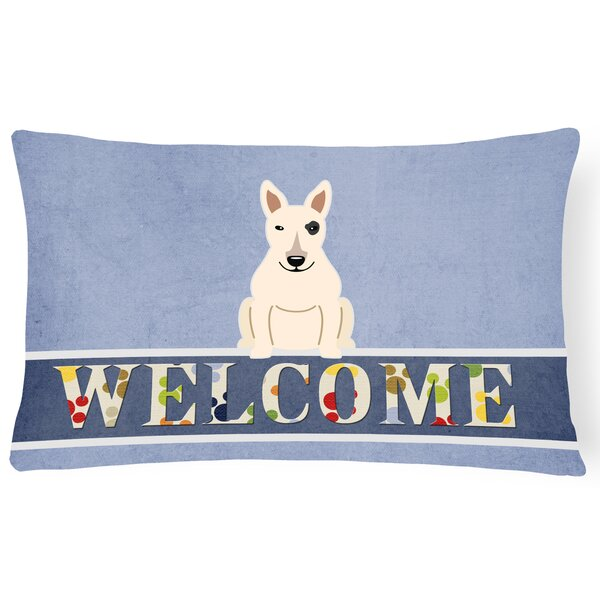 Messerly Bull Terrier Welcome Lumbar Pillow by Red Barrel Studio