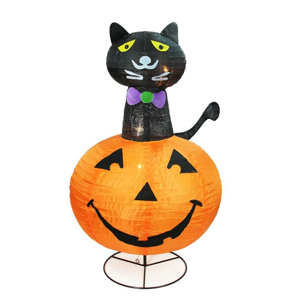 Cat on a Pumpkin Halloween Lighted Display by The Holiday Aisle