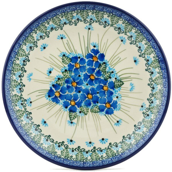 Forget Me Not Polish Pottery Decorative Plate by P