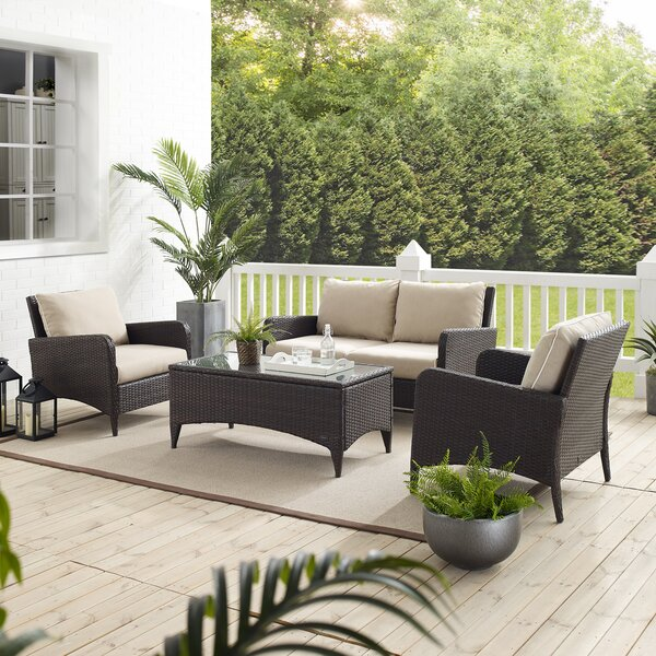 Mosca 4 Piece Rattan Sofa Seating Group with Cushions by World Menagerie