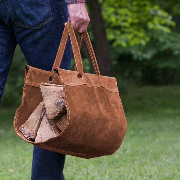 Suede Firewood Log Carrier by Plow & Hearth