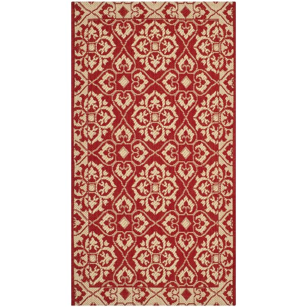 Lynn Red/Creme Indoor/Outdoor Area Rug by Charlton Home