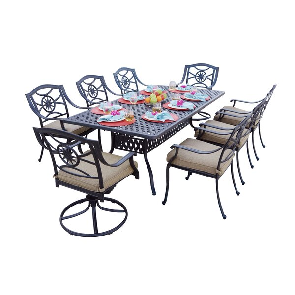 Thompsontown Traditional 9 Piece Dining Set with Cushions by Alcott Hill