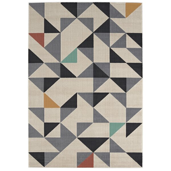 Malott Gray/Black Area Rug by Ivy Bronx
