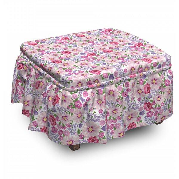 Fresh Spring Flora 2 Piece Box Cushion Ottoman Slipcover Set By East Urban Home