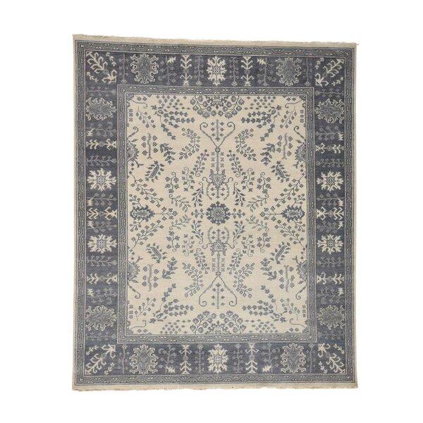 One-of-a-Kind Dilbeck Turkish Knot Oriental Hand-Knotted Ivory Area Rug by World Menagerie