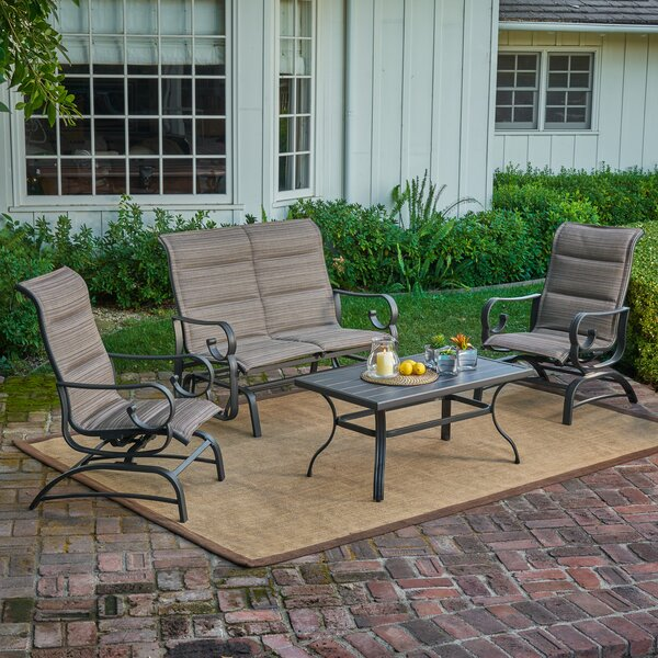 Leandra Padded Sling 4 Piece Sofa Seating Group by Alcott Hill
