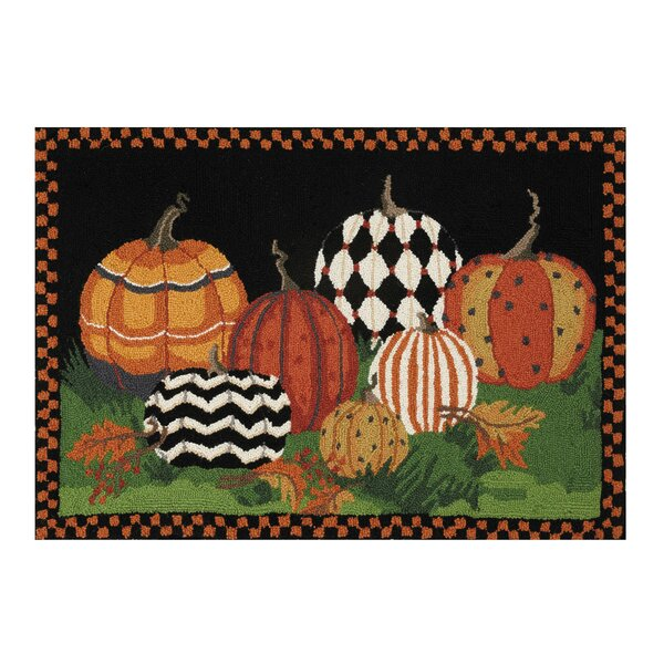 Mclendon Painted Pumpkins Hand-Hooked Wool Black/Green Area Rug by The Holiday Aisle