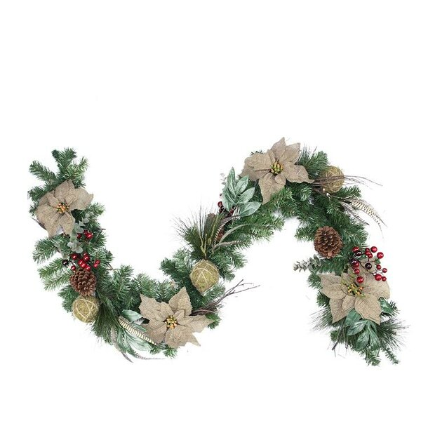 Autumn Harvest Burlap Poinsettia Moss Ball Mixed Pine and Berries Fall Garland with Unlit by Northlight Seasonal