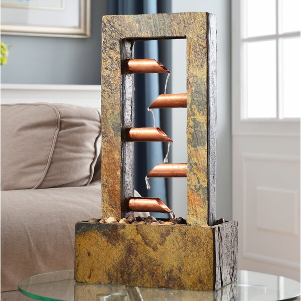 Natural Stone/Copper Aveline Drop Slate Fountain by Wildon Home ®