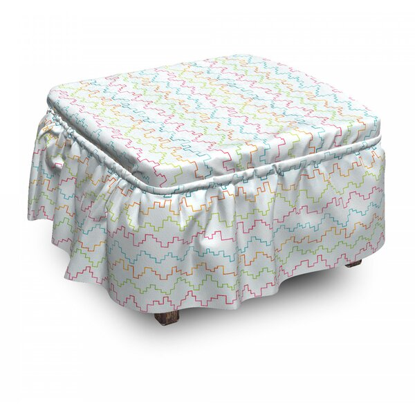 Pixel Zigzag Waves Ottoman Slipcover (Set Of 2) By East Urban Home