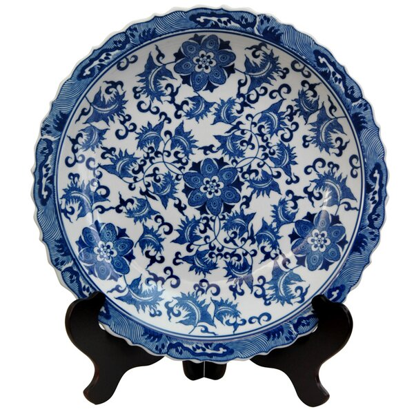 Floral Decorative Plate in Blue & White by World M