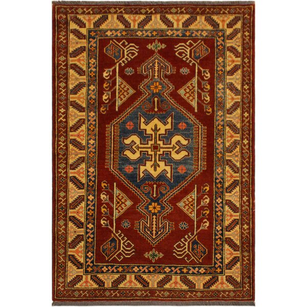 One-of-a-Kind Ann Super Kazak Hand-Knotted Wool Rust/Tan Area Rug by Astoria Grand