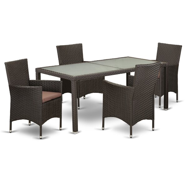Pepe Outdoor Backyard 5 Piece Dining Set with Cushions by Wrought Studio