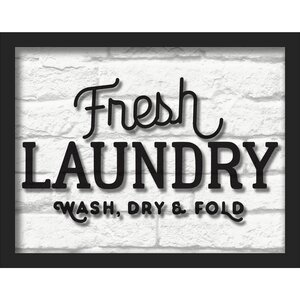 'Fresh Laundry' Framed Textual Art by Wrought Studio