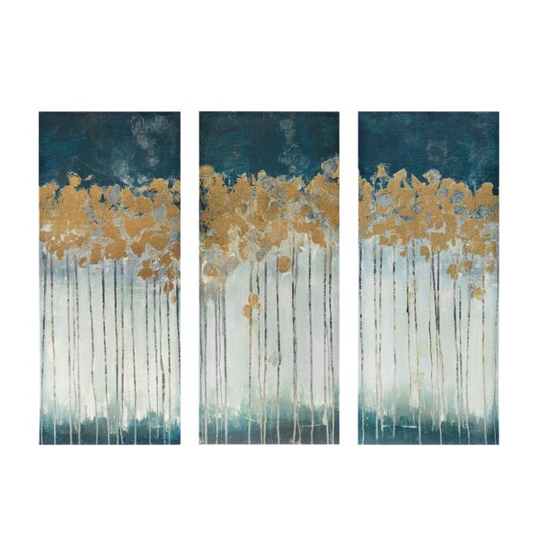 Superb Midnight Forest Gel Coat Canvas Wall Art With Gold Foil Embellishment  3 Piece Set Images