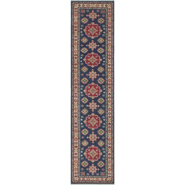 Saigo Traditional Hand Knotted Wool Rectangle Blue Area Rug by Loon Peak